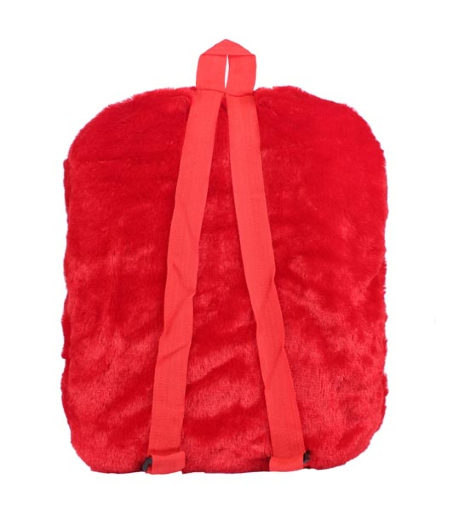 Envie Faux Fur  Red  Coloured Zipper   Closure Backpack