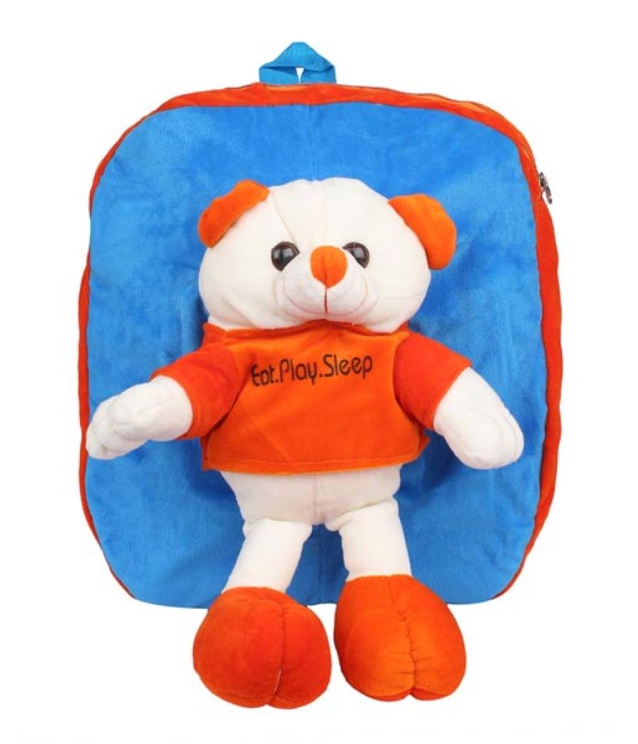 Envie Faux Fur Blue and Orange Coloured Zipper Closure Backpack