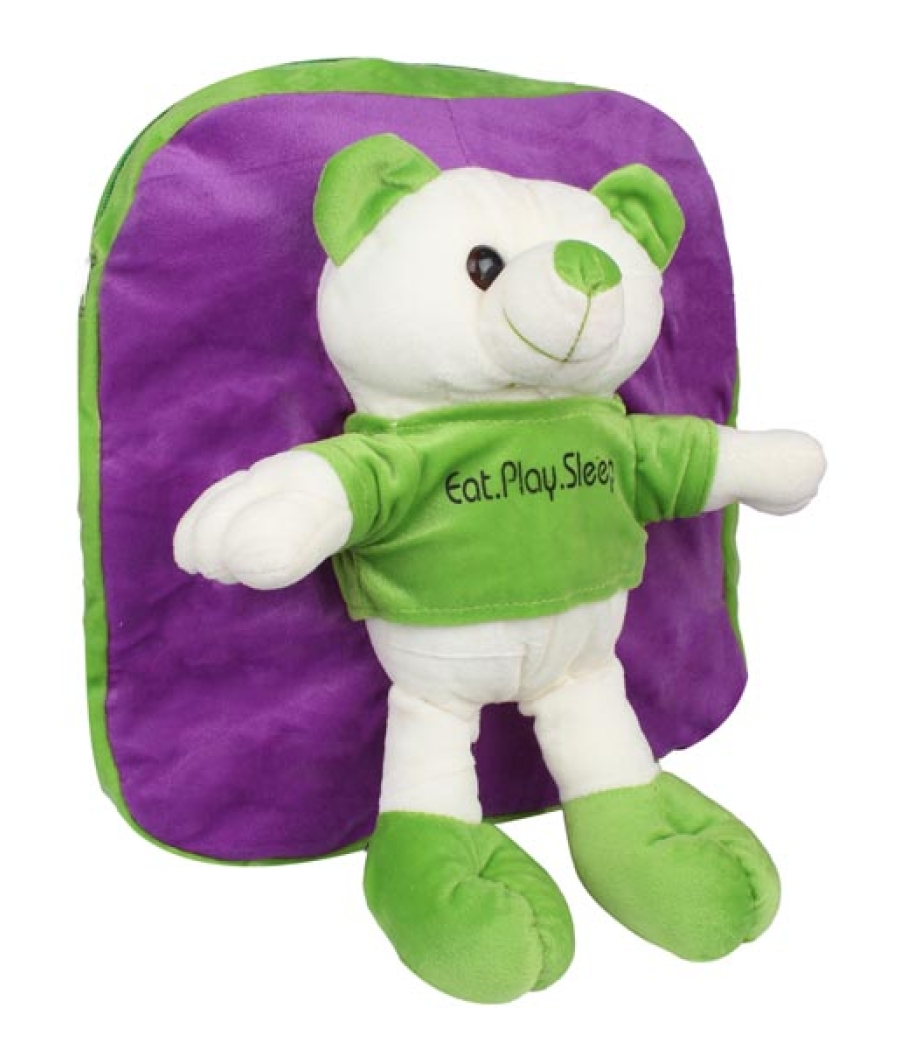 Envie Faux Fur Purple and Green  Coloured Zipper Closure Backpack