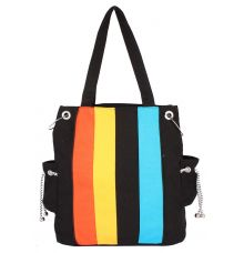 Aliado Cloth Fabric Black and Multi  Coloured Zipper Closure  Handbag