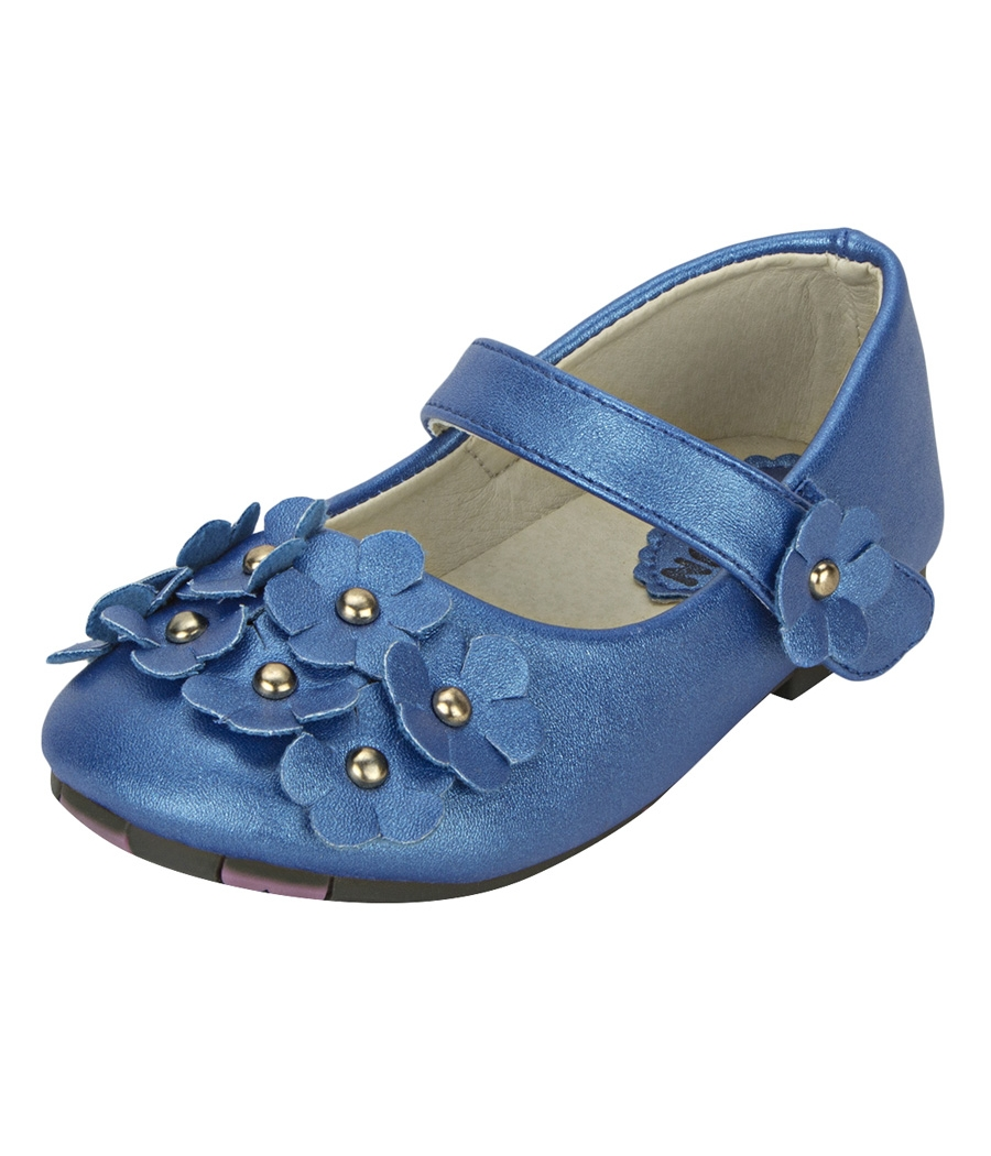 Joy n Fun Shiny Leather Front Strap Decorated Blue Party Wear Shoes for Baby Girls