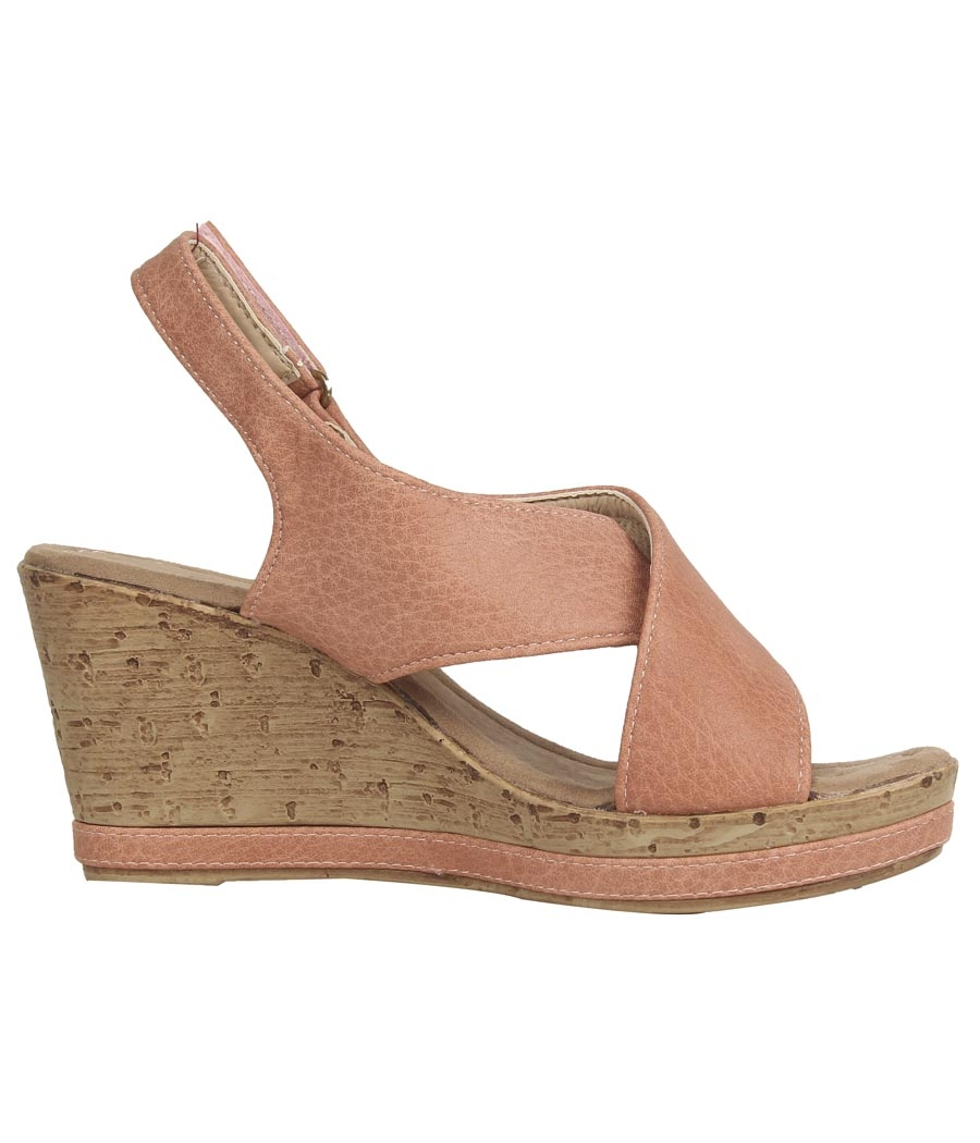 Estatos PU Peach Coloured Cross Strap Open Toe Platform Wedges