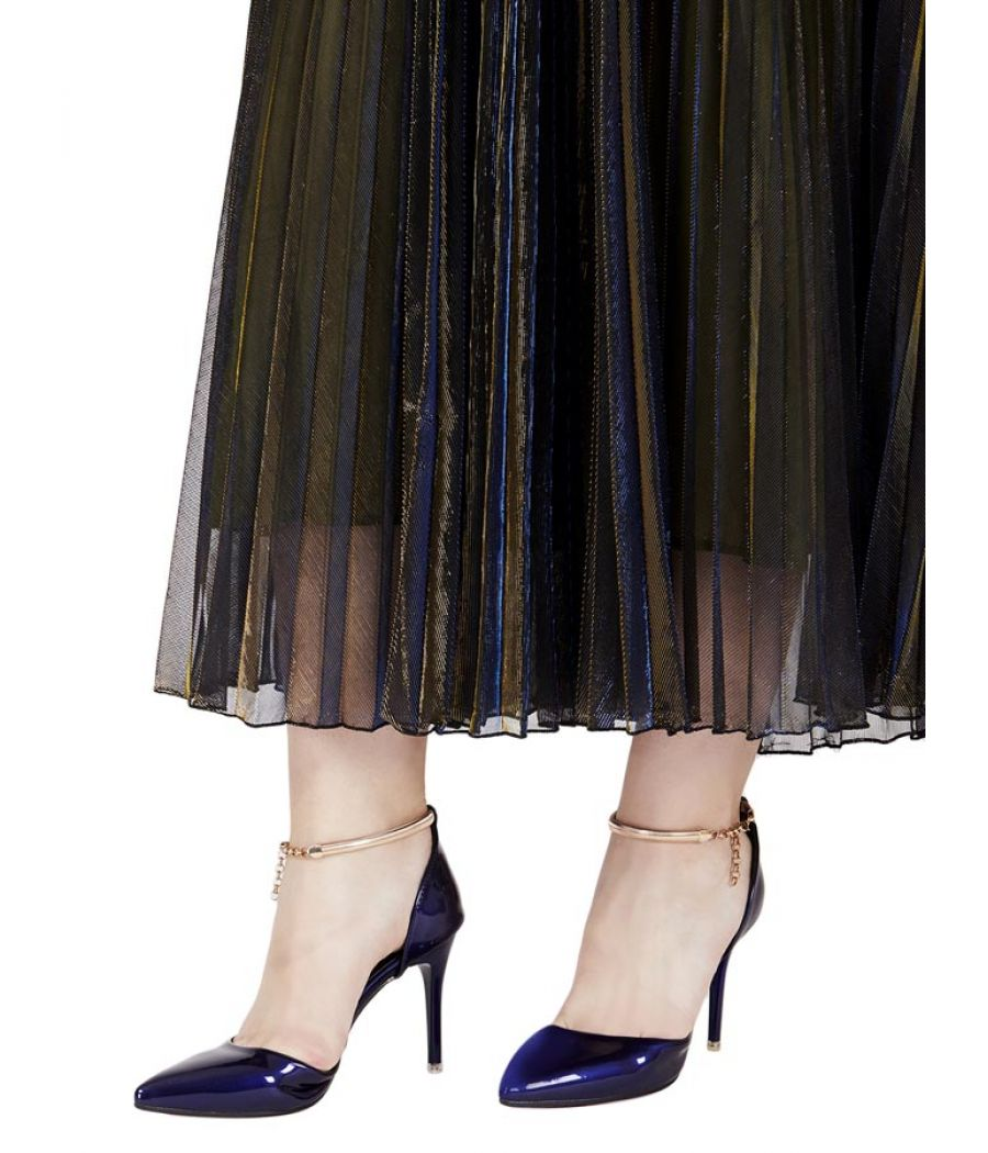Estatos Synthetic Leather Pointed Heeled Navy Blue Stilletos