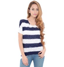 Estance Cotton Knitted Half Sleeves Navy Blue/White Sweater