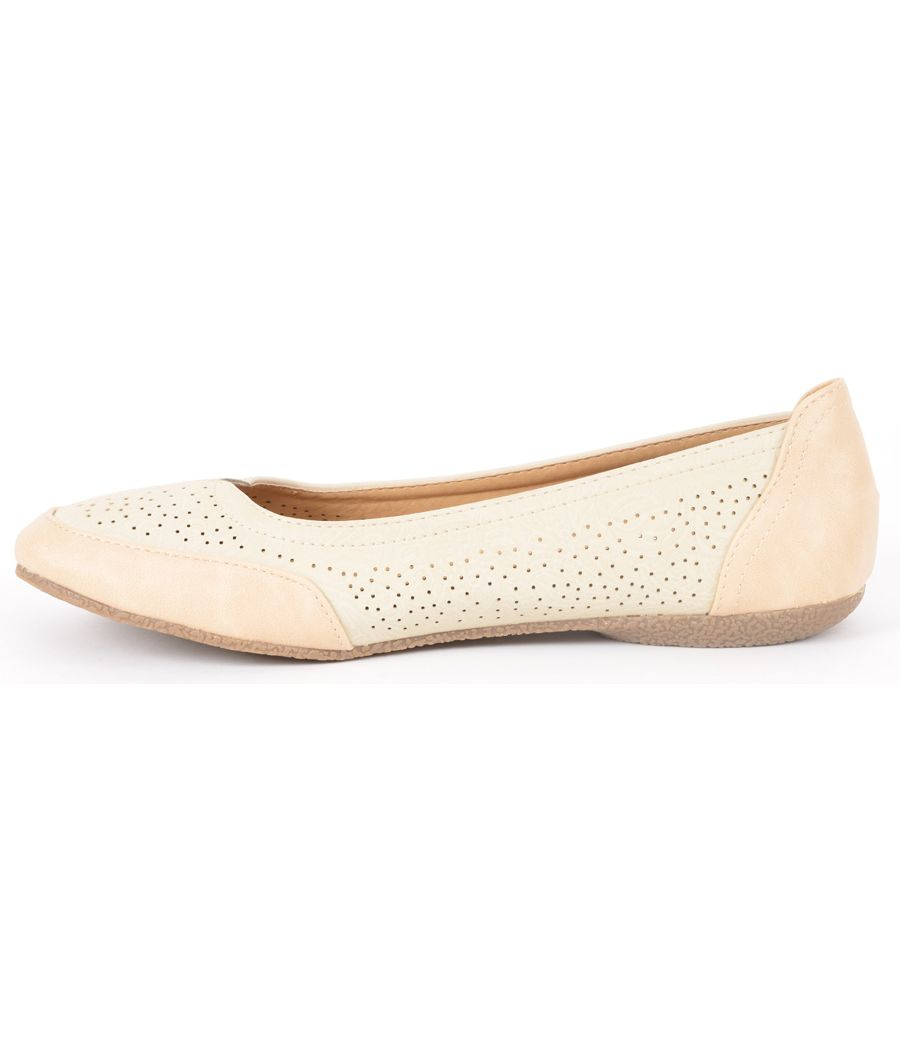 Estatos Perforated Leather Cut work Platform Heeled Peach/Beige/Cream bellerina/shoes