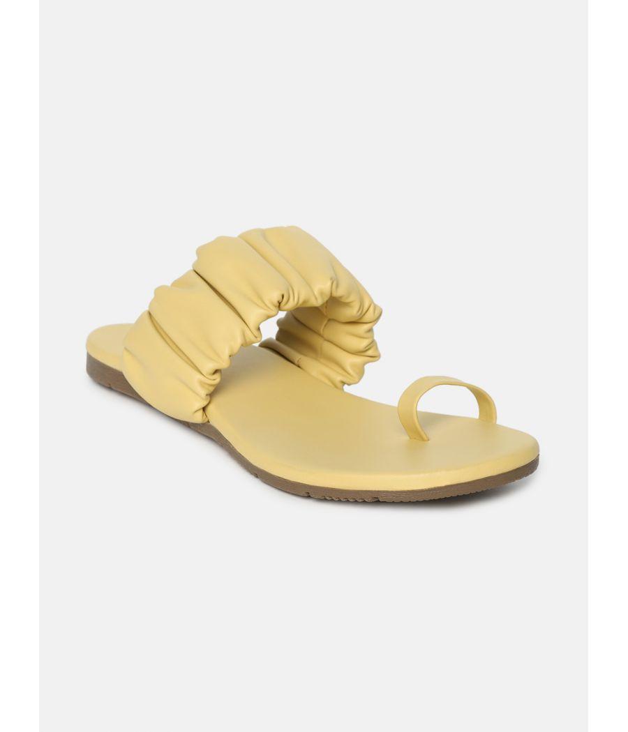 Estatos  Women Sliders Flat Yellow Slippers
