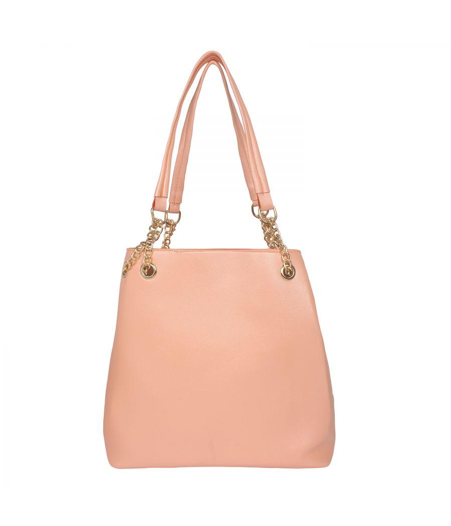 Aliado Pink Artificial Leather Tuck Lock Closure Handbag