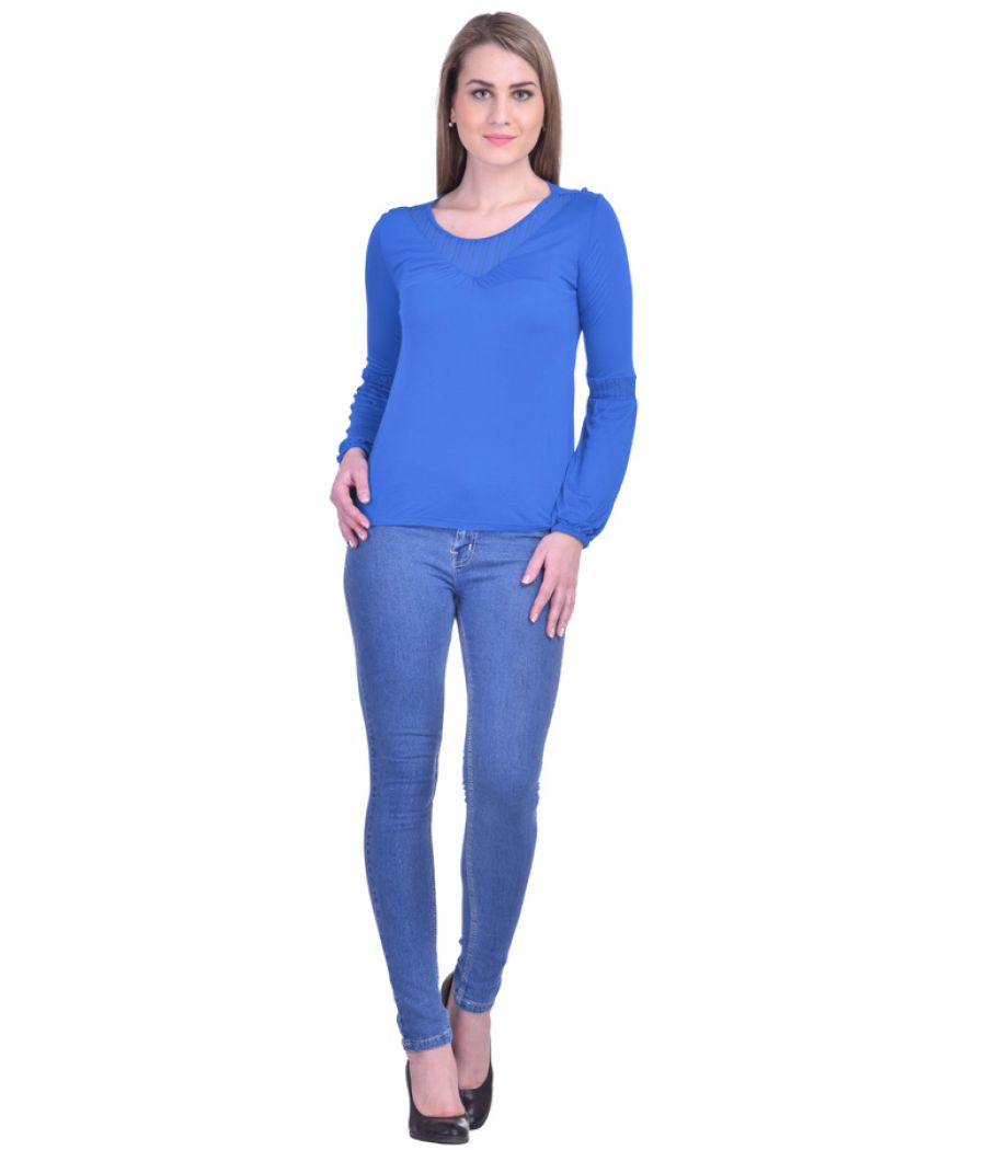 Estance Crepe Solid Round Neck Full Sleeved Blue Casual Top