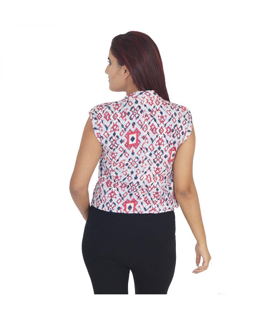 Trafaluc Zara Cotton Blend Tribal Print Red, Blue & White Sleeveless Casual Jacket