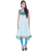 White & Blue Anarkali Kurta