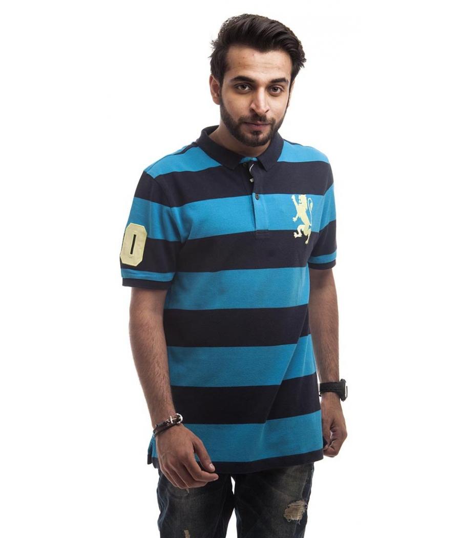 Jiordano Polycotton Plain Striped Navy Blue & Blue Half Sleeved Casual T-shirt