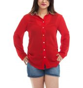Etashee Certified Georgette Solid Red & Brown Simple Collar Full Sleeves Button Closure Casual Shirt