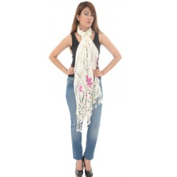 Cotton Blend Floral Pinted Fringed White/Purple Scarf