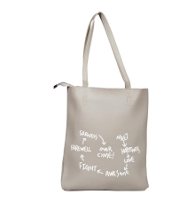 Envie Faux Leather Solid Grey Zipper Closure Casual Tote Bag for Women