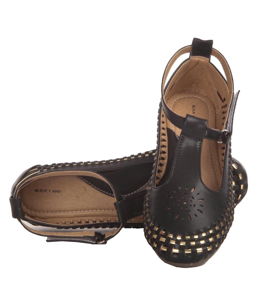 MCS Synthetic Leather Black Broad Toe Velcro Closure Flat Bellies