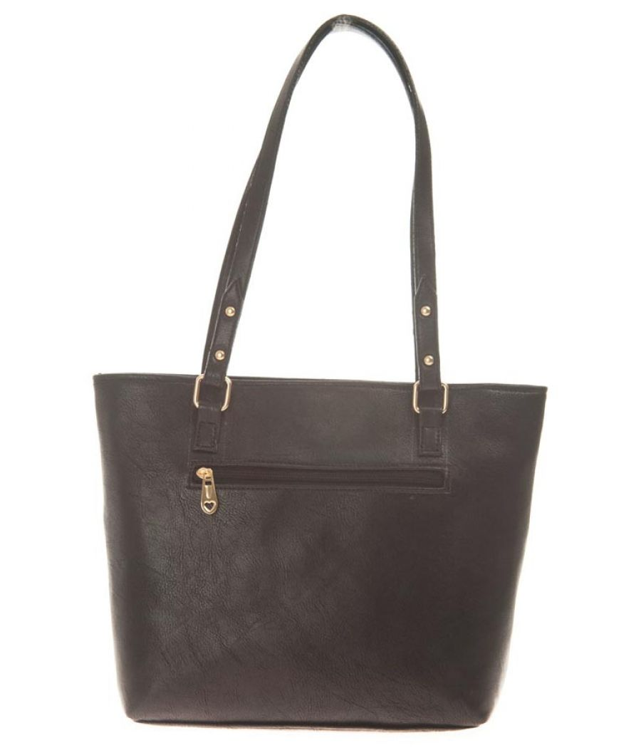 Aliado Faux Leather Solid Black Zipper Closure Tote Bag