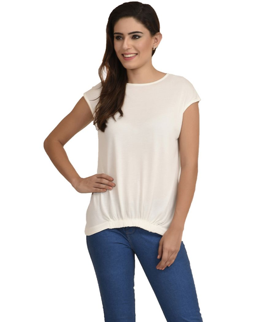Estance Jersey Solid Gathered White Top