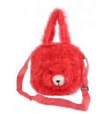 Envie Faux Fur Red Coloured    Zipper Closure Bag