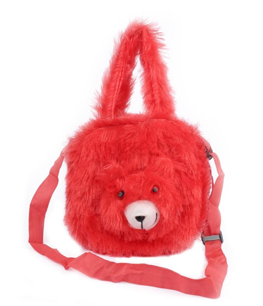Envie Faux Fur Red Coloured    Zipper Closure Bag
