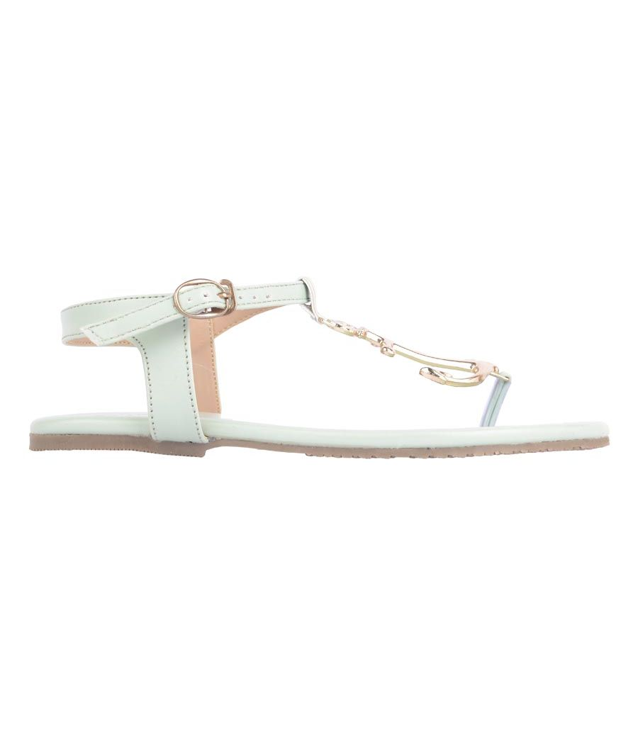 Estatos  Synthetic Leather Buckle Closure T Strap Sea Green Flat Sandals