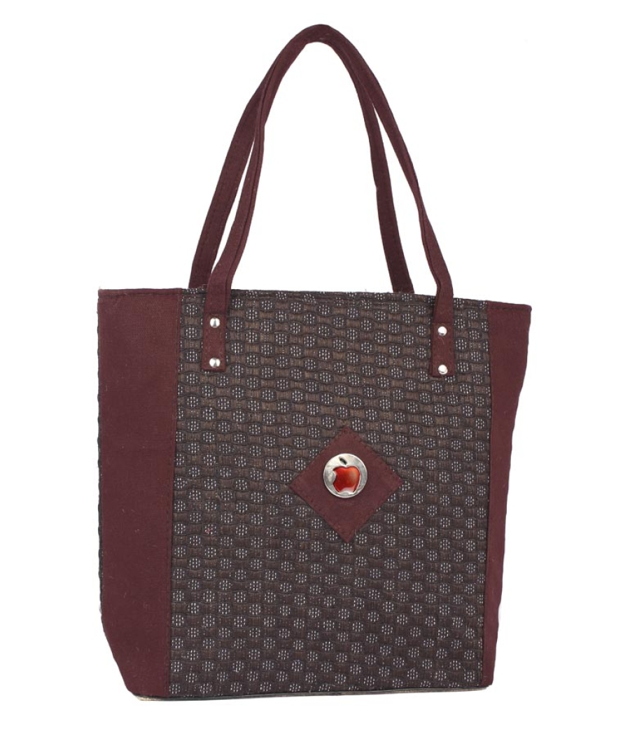 Aliado Jute Maroon and Coffee Brown Zipper Closure Bag