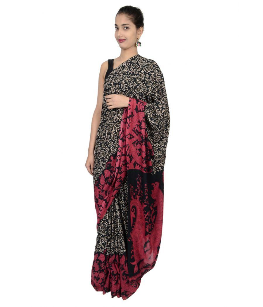 Etashee Certified Synthetic Silk Black & Pink Saree