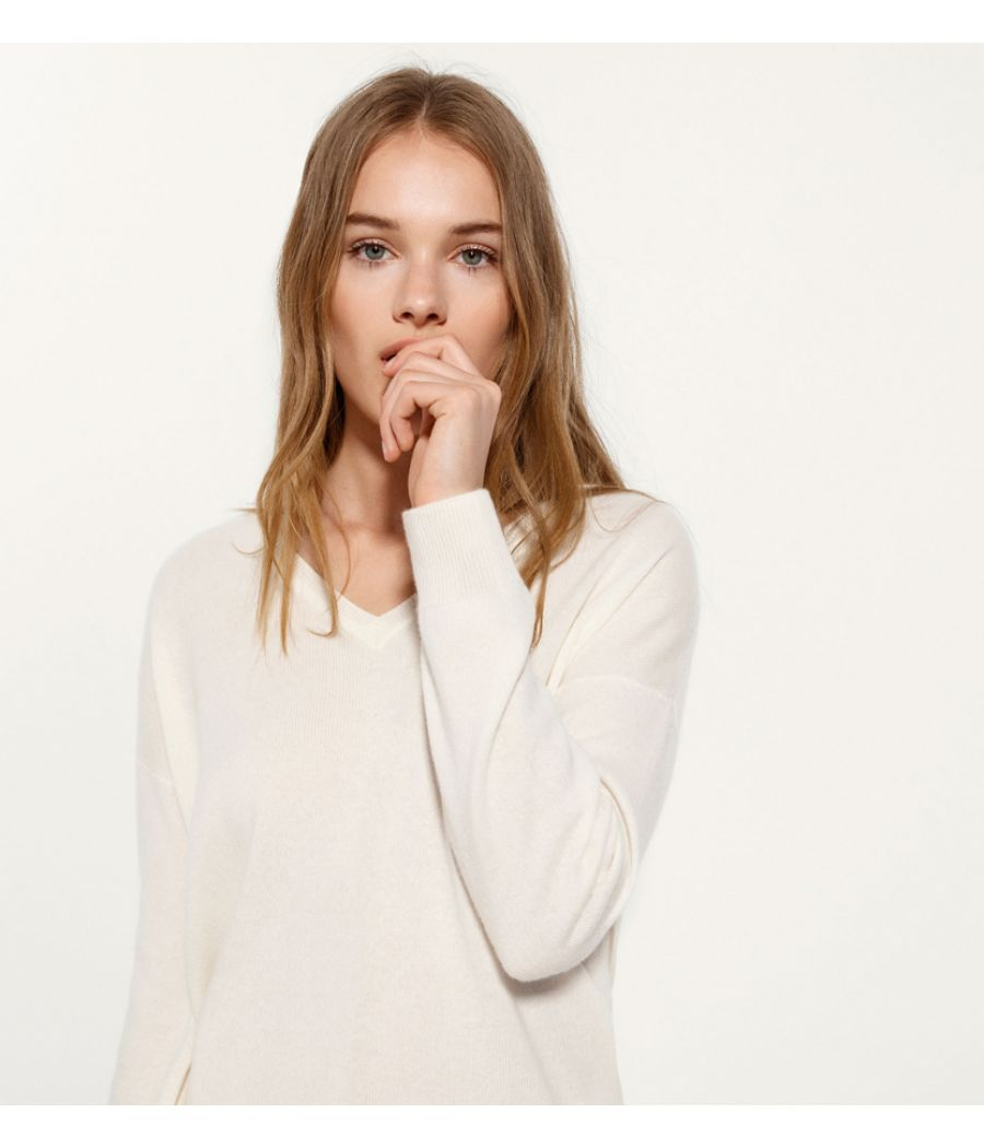 Massimo Dutti Plain Woollen Cream Sweater