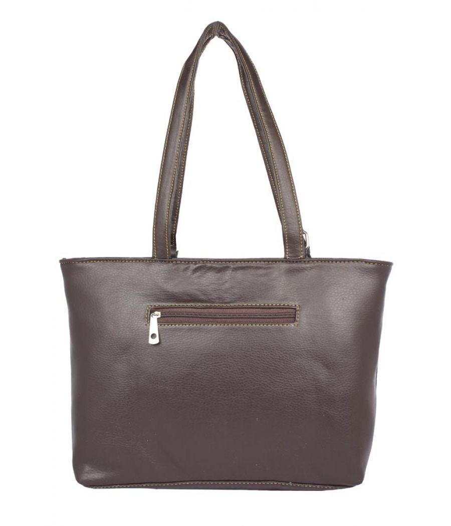 Aliado Faux Leather Brown Coloured Zipper Closure Tote Bag