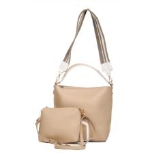 Aliado Faux Leather Solid Beige Zipper Closure Handbag Combo