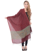 Sanida Modal Fabric Embroidered Fringed Maroon Shawl