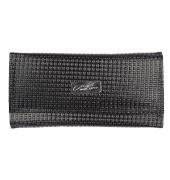 Envie Faux Leather Black Magnetic Snap Croc Pattern Clutch