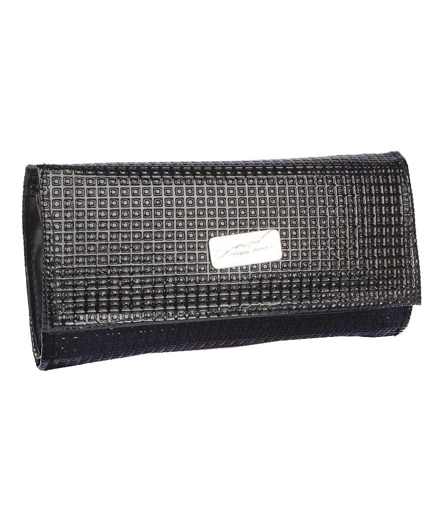 Envie Faux Leather Black Magnetic Snap Croc Pattern Clutch