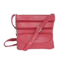 Aliado Faux Leather Magenta Coloured Zipper Closure Sling Bag