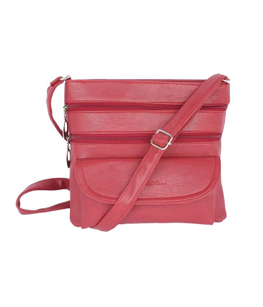 Aliado Faux Leather Magenta Coloured Zipper Closure Sling Bag