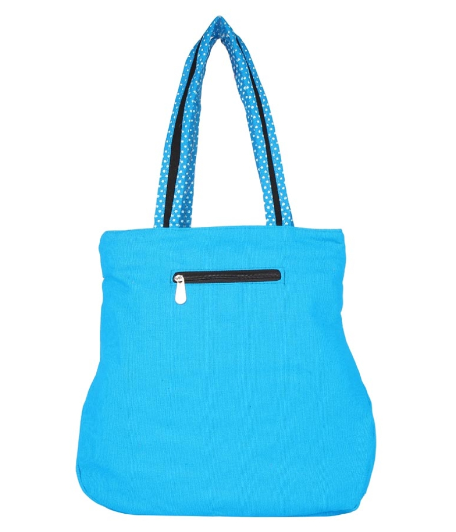 Aliado Cloth Fabric Blue and Multi  Coloured Zipper Closure  Handbag