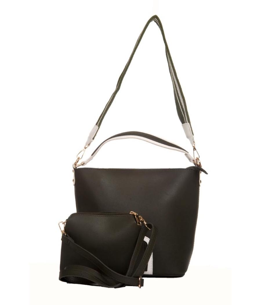Aliado Faux Leather Solid Grey Zipper Closure Handbag Combo