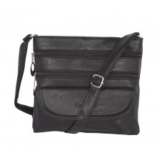 Aliado    Faux Leather Black Coloured Zipper Closure Sling Bag