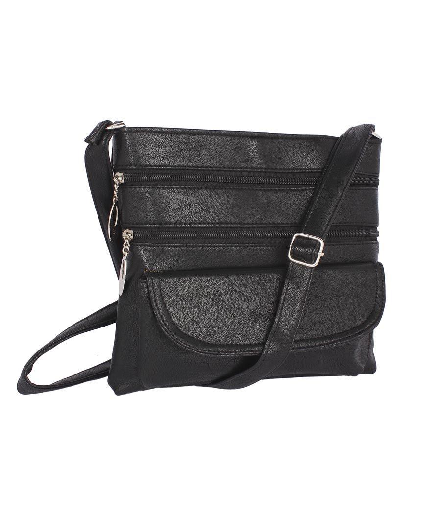 Aliado    Faux Leather Black Coloured Zipper Closure Sling Bag