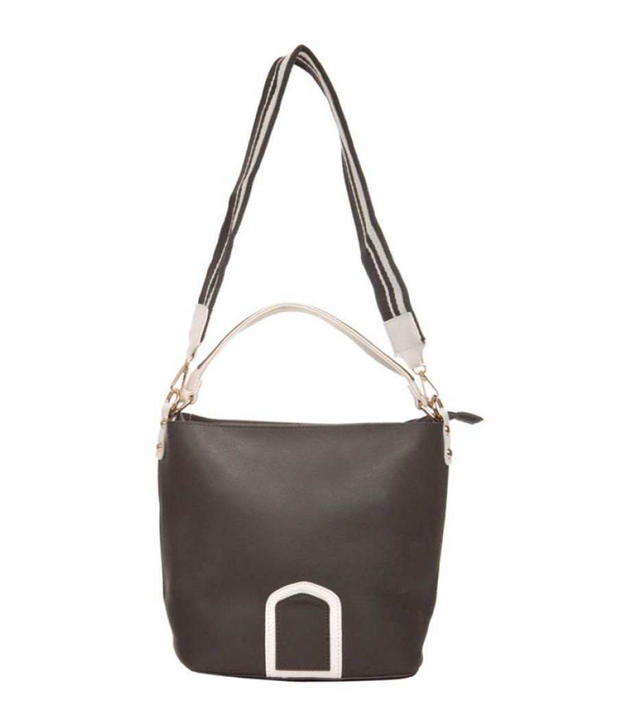 Aliado Faux Leather Solid Coffee Brown Zipper Closure Handbag Combo