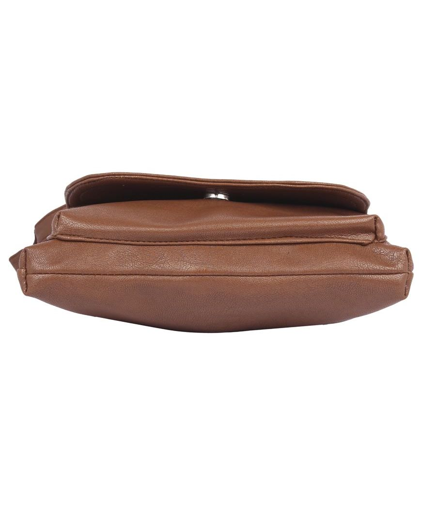 Aliado Faux Leather Coffee Brown Zipper Closure Sling Bag