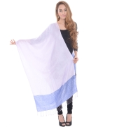 Sanida Self Modal Embroidered Blue Shawl