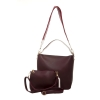 Aliado Faux Leather Solid Magenta Zipper Closure Handbag Combo