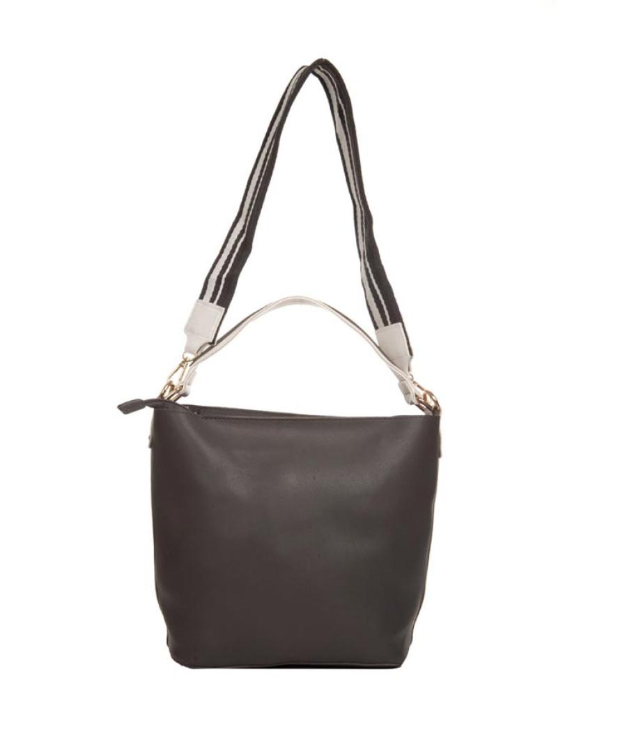 Aliado Faux Leather Solid Black Zipper Closure Handbag Combo