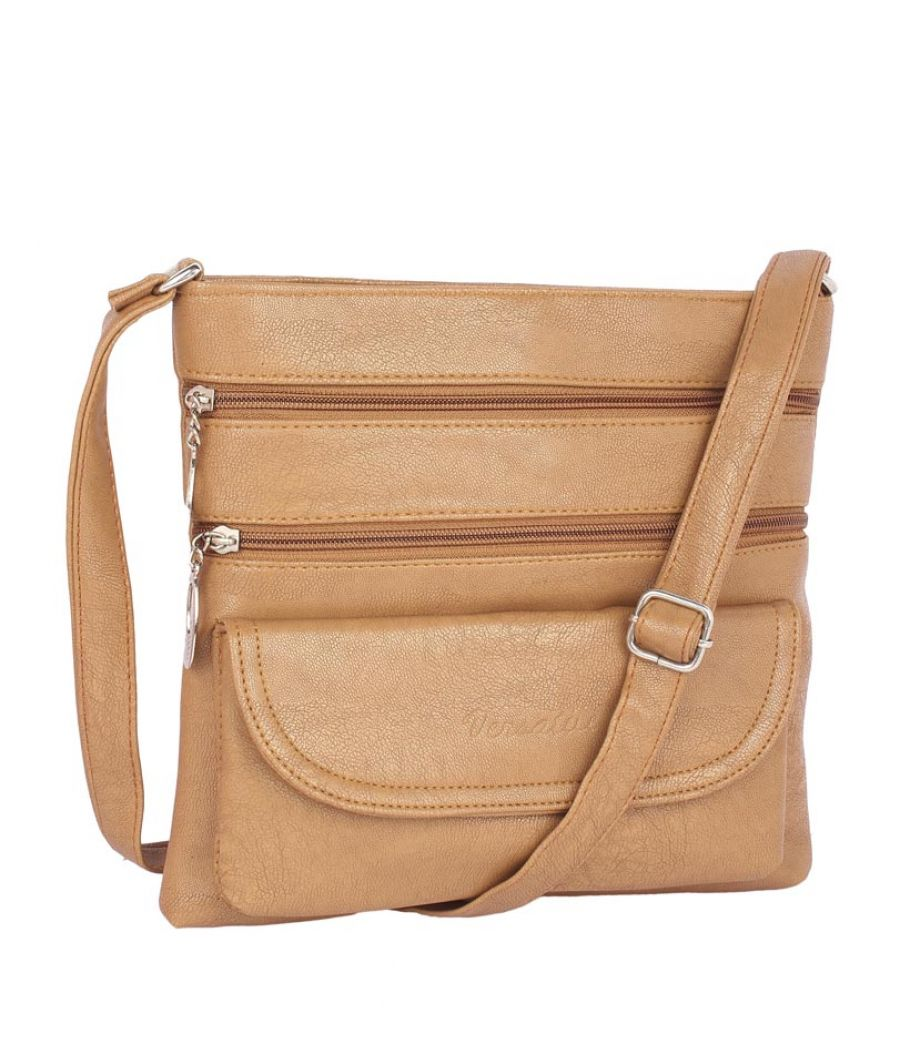 Aliado Faux Leather Beige Coloured Zipper Closure Sling Bag