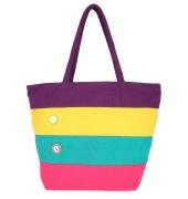 Aliado Cloth Fabric Purple and Multi  Coloured Zipper Closure  Handbag