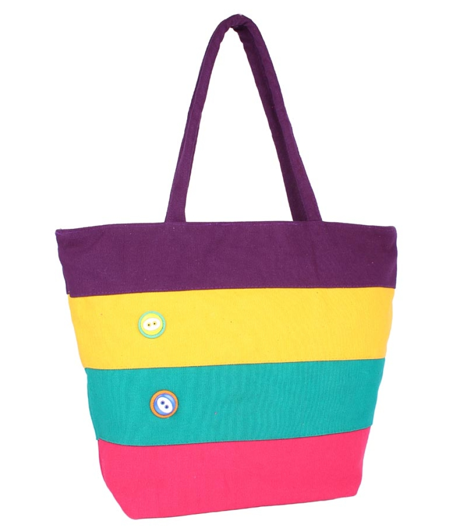Aliado Cloth Fabric Purple and Multi  Coloured Zipper Closure  Handbag