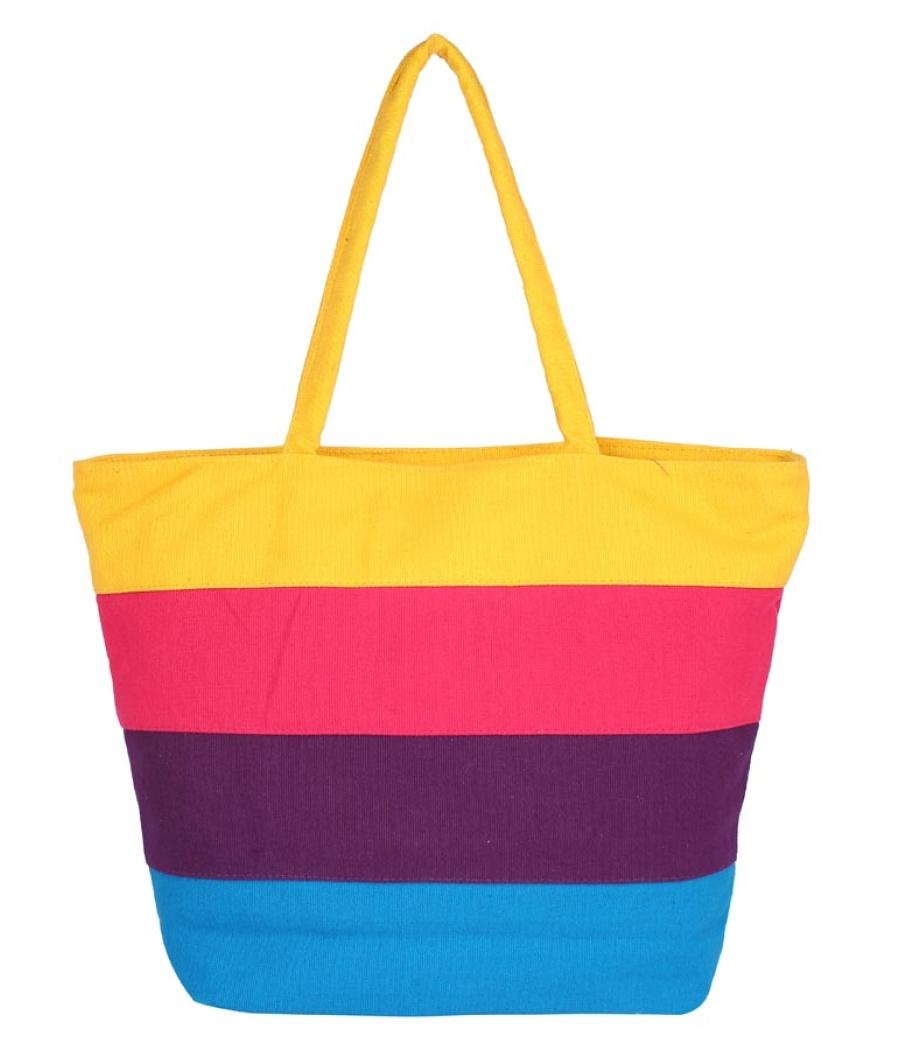 Aliado Cloth Fabric Yellow and Multi  Coloured Zipper Closure  Handbag