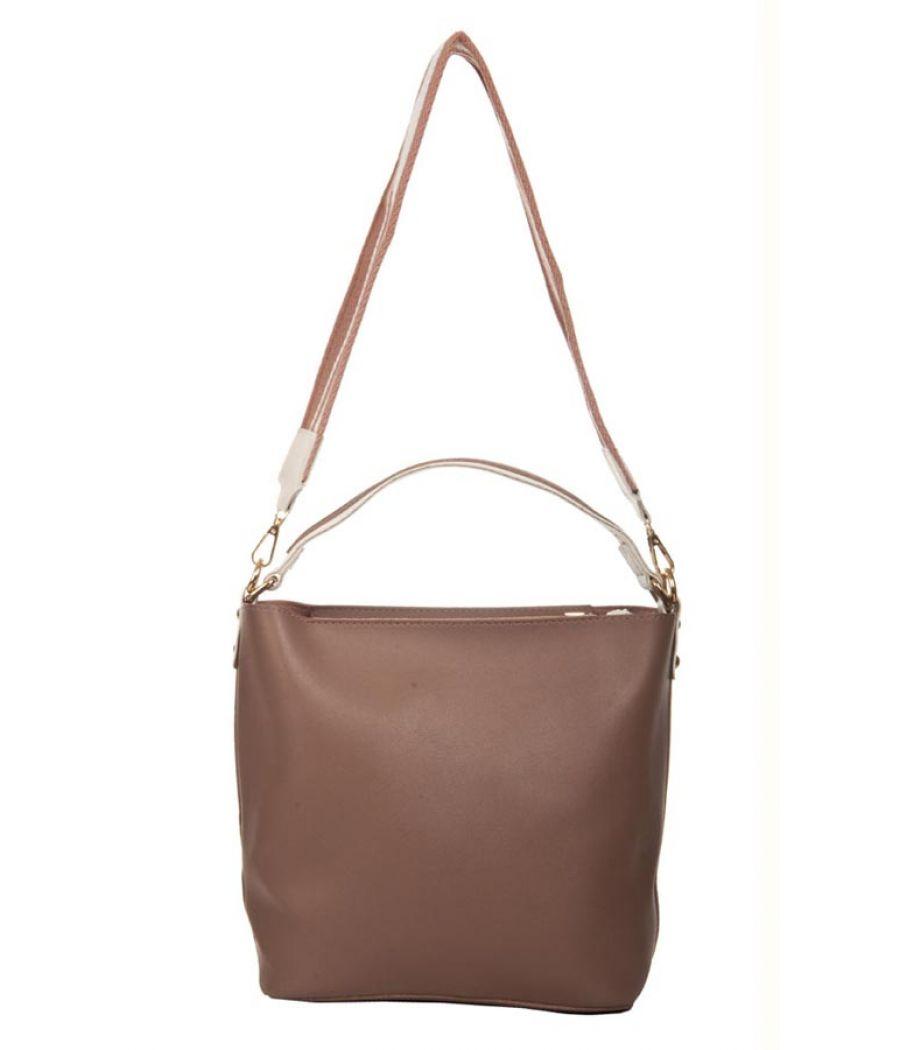Aliado Faux Leather Solid Light Brown Zipper Closure Handbag Combo