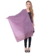 Sanida Woollen Check Purple Shawl