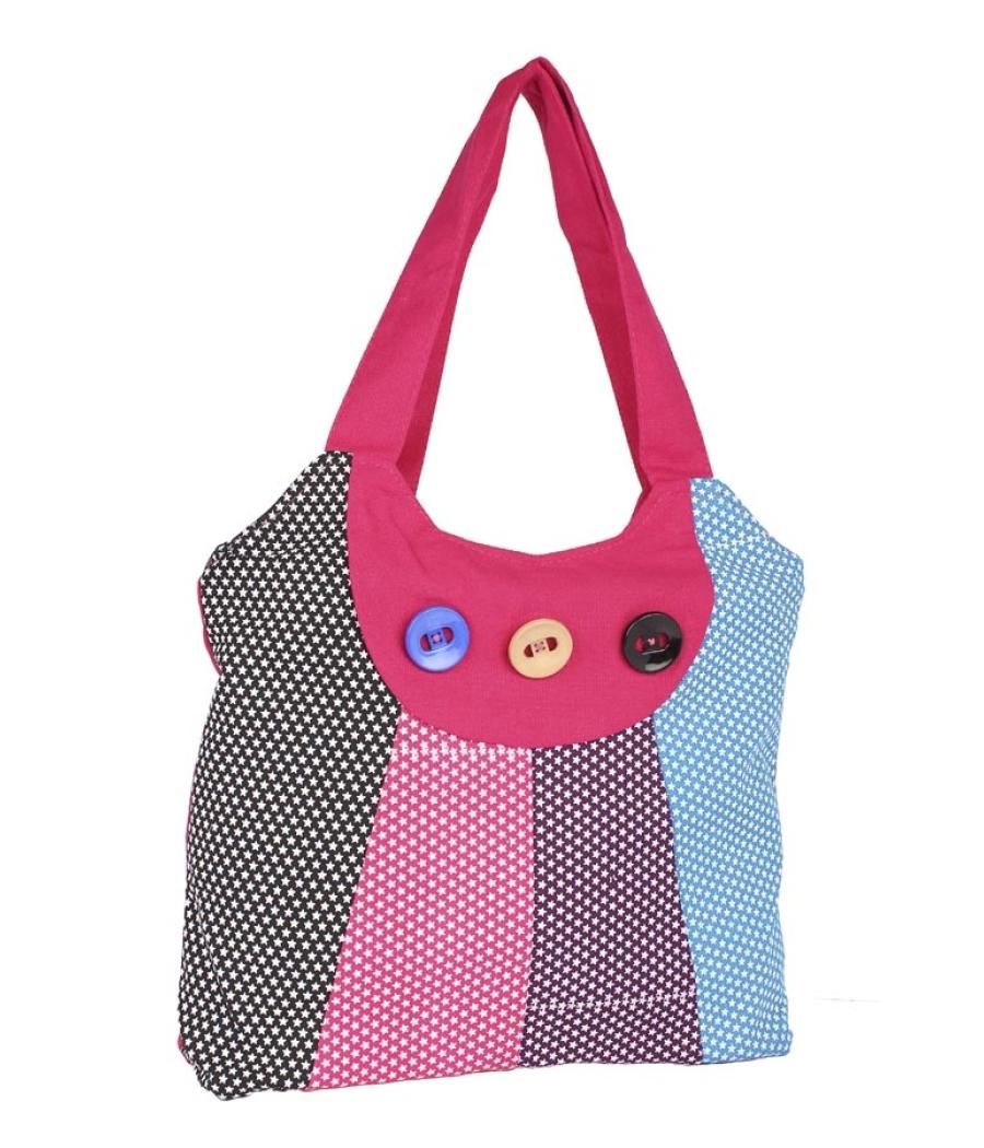 Aliado Cotton Pink and Multi  Printed Zipper Closure Bag